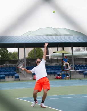 Singles quarterfinals took place Friday, July 22, 2016 on day 7 of the 19th Annual Lewis and Clark Men's Pro Tennis Classic at the Andy Simpson Tennis Complex in Godfrey.